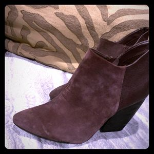Gorgeous Plum Leather Ankle Boots